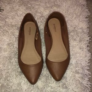 Faux leather tan flats by Express